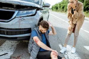 man got hit by the car on pedestrian lane